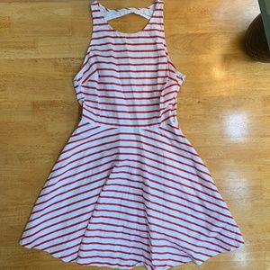 BB Dakota Red Stripe A Line Dress Back Cut Out